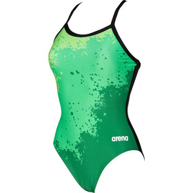 arena Spraypaint Light Drop Back One Piece Badeanzug Damen green/black